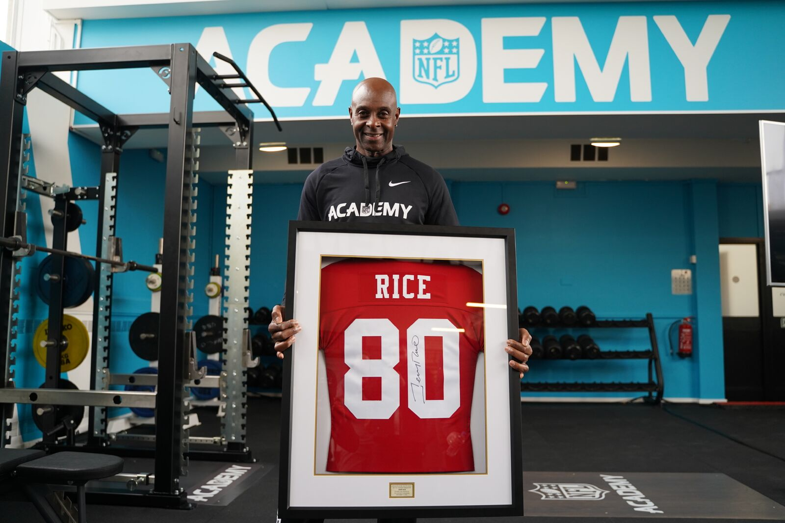 RICE VISITS NFL ACADEMY AT NORTH LONDON TRAINING SITE