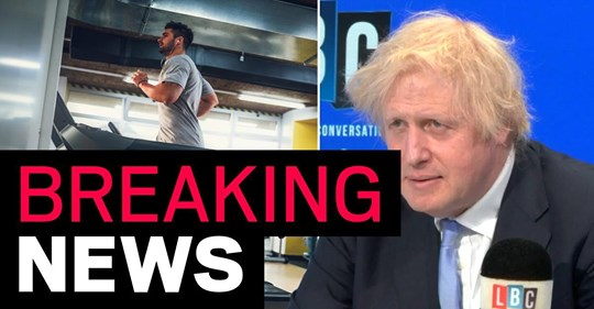 Breaking: gyms could reopen 'in a couple of weeks', says Boris Johnson.